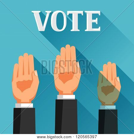 People vote with their hands raised. Political elections illustration for banners, web sites, banner