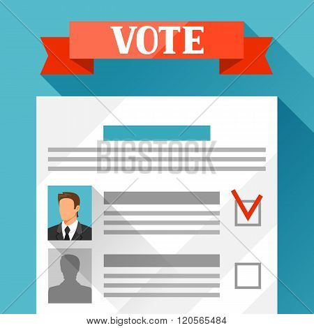 Voting ballot with selected candidate. Political elections illustration for banners, web sites, bann