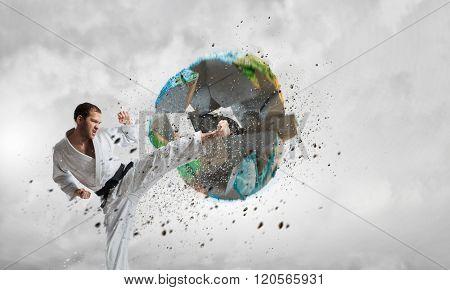Karate man in white kimino
