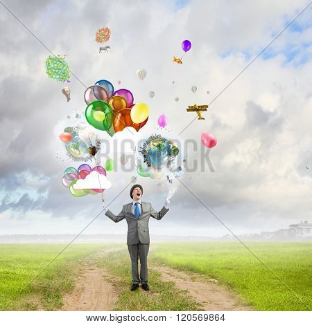 Humorous guy with balloons
