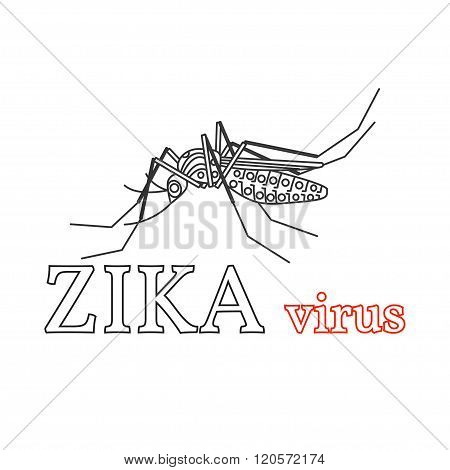 Zika Virus Symbol. Isolated Vector Illustration.thin Line Icon.