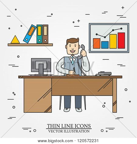 Office Man , Business Man.  Thin Line  Icon For Web And Mobile. Vector.