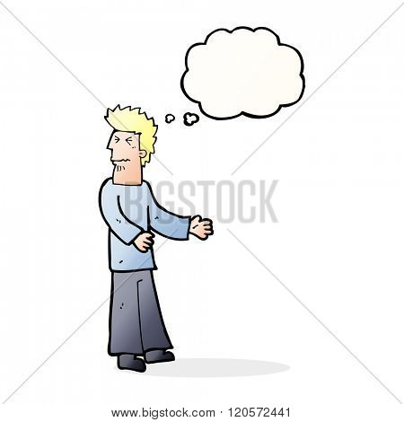 cartoon disgusted man with thought bubble