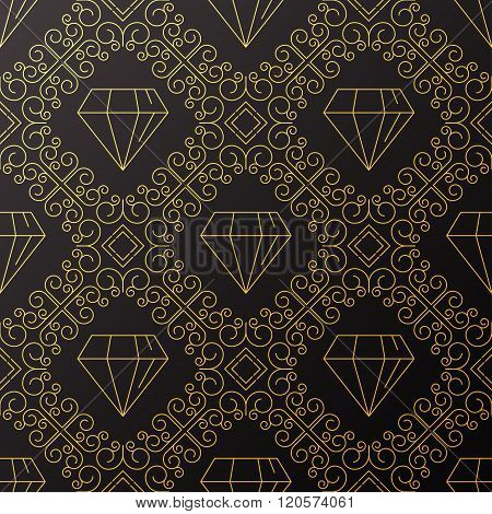 Seamless Texture With Vintage Geometric Ornament.