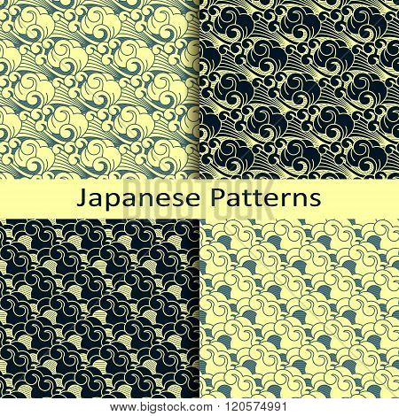 set of four japanese patterns