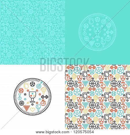 set with sport backgrounds patterns