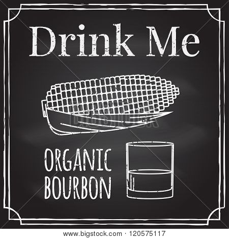 Drink Me. Elements On The Theme Of The Restaurant Business.  Chalk Drawing On A Blackboard. Logo, Br