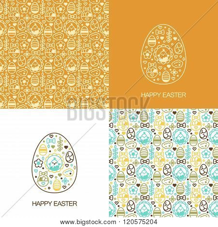set with easter pretty patterns and backgrounds