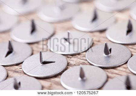 abstract image of metal sharp pushpin, selective focus