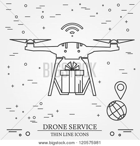 Drone Service. Drone Delivery Service. Thin Line Icons. Vector Illustration.