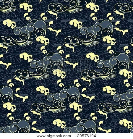 seamless vector blue wave traditional japanese pattern