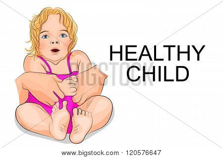 illustration of a healthy baby - girl in pink dress and with blonde hair