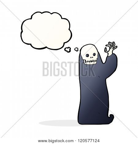 cartoon waving halloween ghoul with thought bubble
