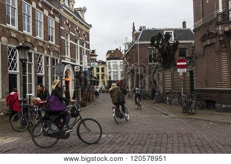 Cyclists In Utrecht In Holland