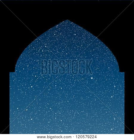 Arabic window. Starry Sky. Columns. Eps 10.