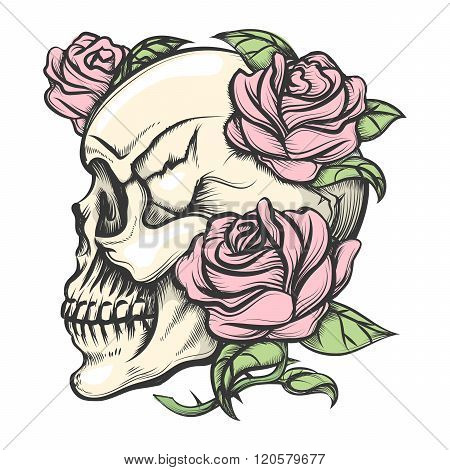 Skull With Roses