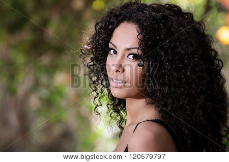 Young Black Woman, Afro Hairstyle, In Urban Background