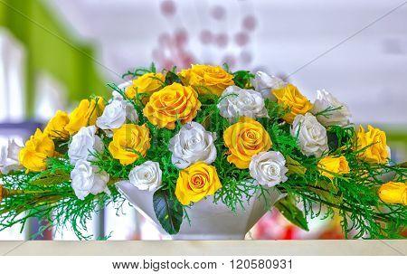 Excellent frozen flower basket on the shelf