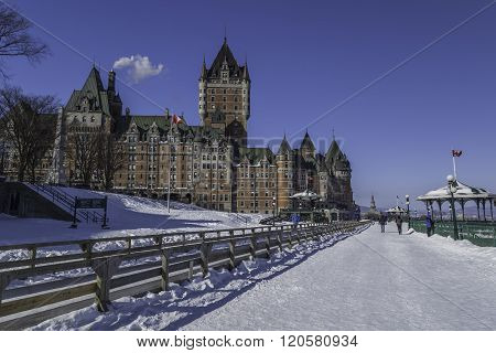 Chateau Frontenac hotel in winter in Old Quebec City.