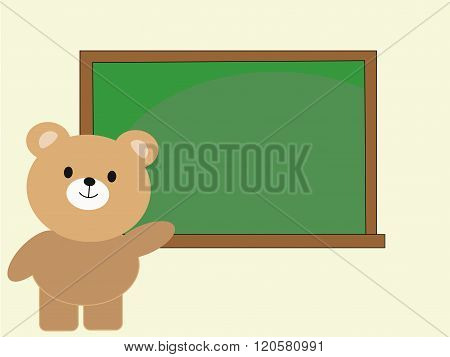 bear teacher with blank blackboard