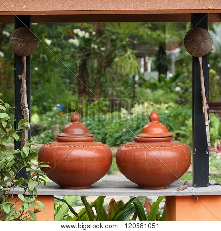 Thailand Traditional Clay Jar Used For Water Drink