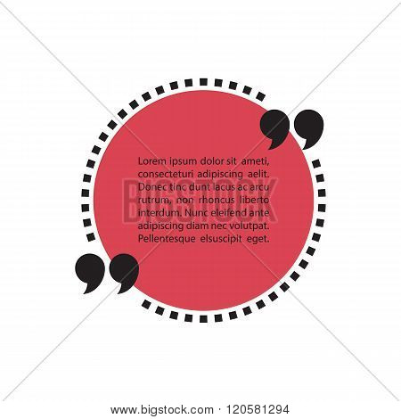 Dotted quote text bubble. Quotation mark speech bubble. Quote sign icon. Quote blank template.