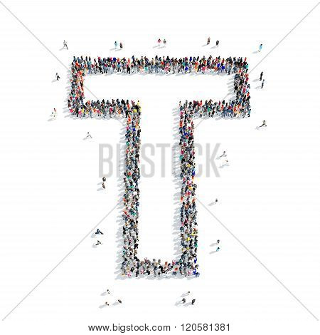 people  shape  letter T  icon