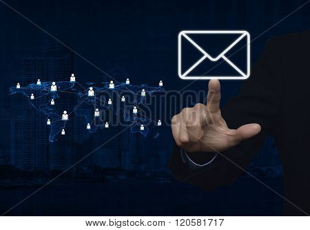 Businessman Hand Pushing Email Icon With Light Blue World Map Connection On City Tower, Elements Of