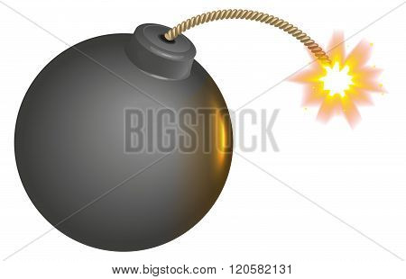 Black round bomb with burning wick