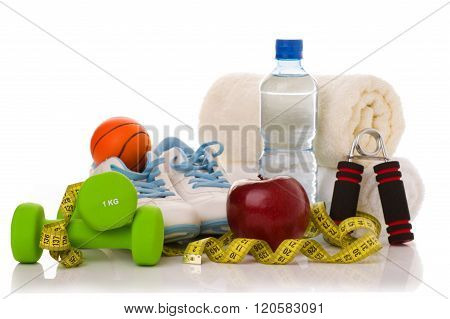 fitness equipment isolated on white