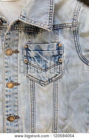 Jean Shirt With Pocket And Metal Button On Clothing Textile Industrial