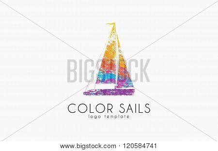 Sails logo. Color sails. Boat logo. Sailing logo design. Logo in grunge style. Creative logo