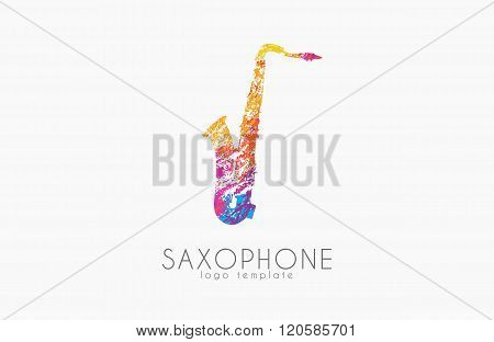 Saxophone logo design. Music logo. Creative logo. Color logo. Saxophone in grunge style.