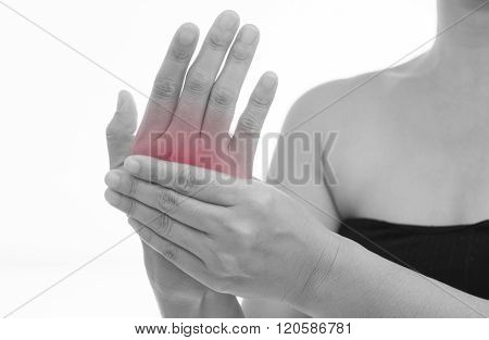 Front view of a young women hand muscle pain. Red around the pain area.