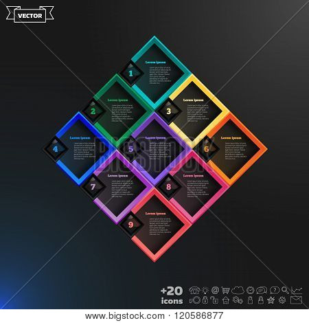 Vector Infographic Design List With Colorful Rhombs.