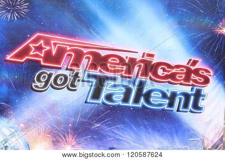 LOS ANGELES - MAR 3:  America's Got Talent Emblem at the America's Got Talent Judges Photocall at the Pasadena Civic Auditorium on March 3, 2016 in Pasadena, CA