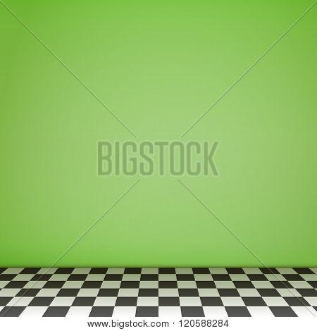 Green Empty Scene  With Checkerboard Floor
