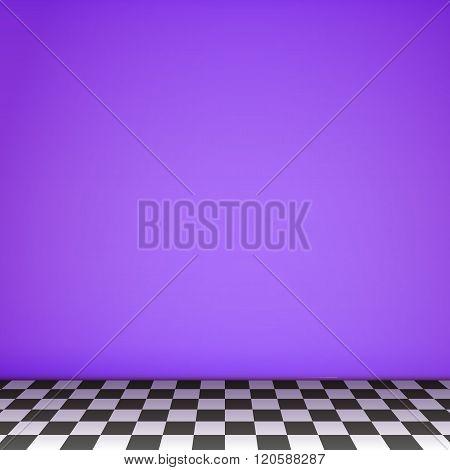 Violet Empty Scene  With Checkerboard Floor