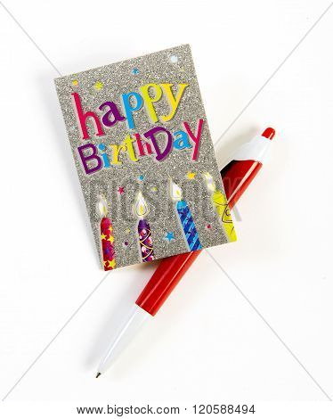 happy birthday card isolated on white background
