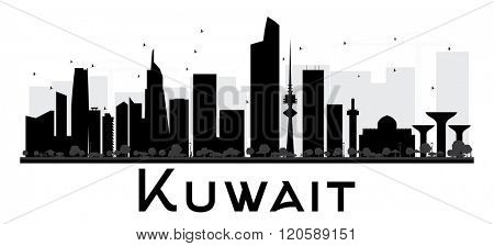 Kuwait City skyline black and white silhouette. Vector illustration. Simple flat concept for tourism presentation, banner, placard or web site. Business travel concept. Cityscape with landmarks