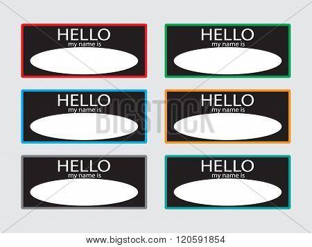 Hello My Name Is Sticker Badge Set Black