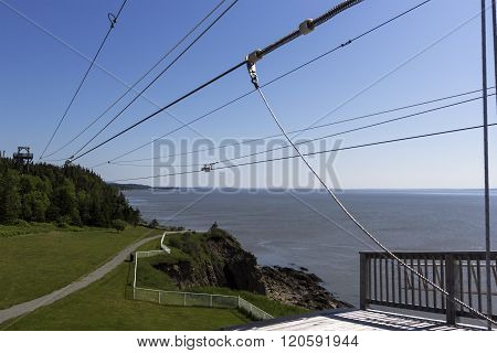Zip line at Cape Enrage in New Brunswick in Canada