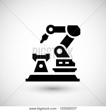Robotic arm machine icon