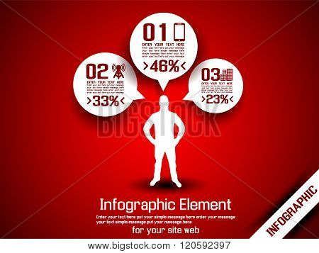 Business Man Infographic Option Three 6 Red