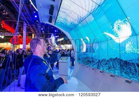 LAS VEGAS - JAN 08 : The Intel booth at the CES show held in Las Vegas on January 08 2016 CES is the world's leading consumer-electronics show.