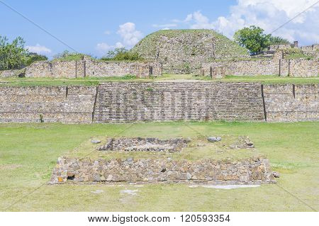 MONTE ALBAN MEXICO - NOV 01 : The ruins of the Zapotec city of Monte Alban in Oaxaca Mexico on November 01 2015. Monte Alban is UNESCO World Heritage Site since 1987