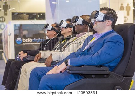 LAS VEGAS - JAN 08 : Virtual reality demonstration at The Samsung booth at the CES show held in Las Vegas on January 08 2016 CES is the world's leading consumer-electronics show.