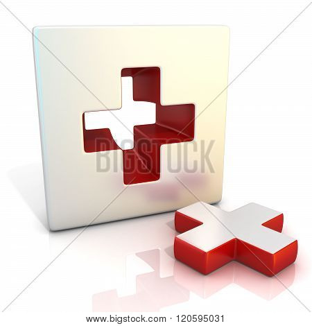 Plus sign. 3D render illustration isolated on white. Side view