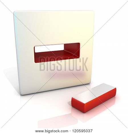 Minus sign. 3D render illustration isolated on white. Side view