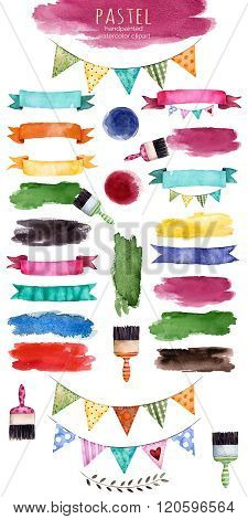 Watercolor multicolored collection with ribbons,brush stroke,shapes